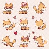 Kawaii Foxes Royalty Free Stock Photo