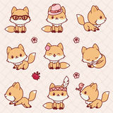 Kawaii foxes. Cute little foxes in Kawaii style. Vector icons set stock illustration