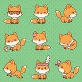 Kawaii foxes la raccolta Fotografie Stock Libere da Diritti