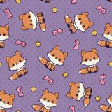 Kawaii foxes seamless vector pattern/wallpaper. Royalty Free Stock Photo