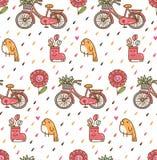 Kawaii-Frühlingshintergrund mit Vogel und Fahrrad lizenzfreie abbildung