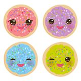 Kawaii Frosted sugar cookies, Italian Freshly baked biscuit with pink frosting and colorful sprinkles. Bright colors pink purple g. Reen blue on white background Royalty Free Stock Photo