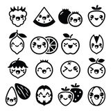 Kawaii fruit and nuts cute characters design Stock Photography