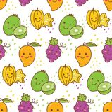Kawaii fruit seamless pattern with grape, star fruit, kiwi etc royalty free illustration