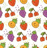 Kawaii fruit seamless pattern with strawberry, cherry, grape etc royalty free illustration