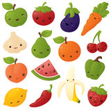Kawaii fruit and Vegetables Stock Photo