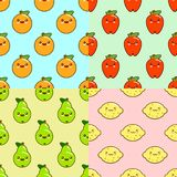 Kawaii fruits pattern set on color background. Orange, pears, lemon, apple. Flat design Vector Illustration. Eps10 Royalty Free Stock Photos