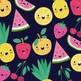 Kawaii fruits pattern set with face expression on dark blue color background. Vector illustration Royalty Free Stock Images