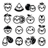 Kawaii frukt och tokig gullig teckendesign Arkivbild