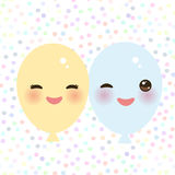 Kawaii funny balloons yellow blue with pink cheeks and eyes on white polka dot background. Vector. Illustration Royalty Free Stock Photo