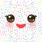 Kawaii funny muzzle with pink cheeks and eyes on white polka dot background. Vector. Illustration Royalty Free Stock Photography