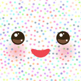 Kawaii funny muzzle with pink cheeks and eyes on white polka dot background. Vector. Illustration Royalty Free Stock Photos
