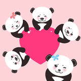 Kawaii funny panda white muzzle with pink cheeks and big black eyes. Royalty Free Stock Photography