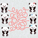 Kawaii funny panda white muzzle with pink cheeks and big black eyes. labyrinth game for Preschool Children. Vector Stock Photo