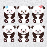 Kawaii funny panda white muzzle with pink cheeks Royalty Free Stock Images