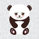 Kawaii funny panda white muzzle with pink cheeks Stock Photo