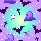 Kawaii funny spooky seamless pattern. Halloween wrapping paper b Royalty Free Stock Photography