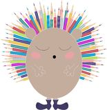 Vector children illustration, print with cute hedgehog with colorful pencils as needles . Back to school. Transparent background. royalty free illustration