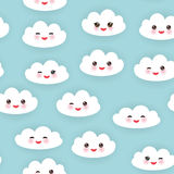Kawaii funny white clouds set, muzzle with pink Stock Image