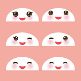 Kawaii funny white muzzle with pink cheeks and winking eyes on light pink background. Vector Stock Photos