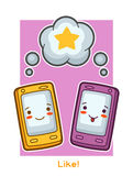 Kawaii gadgets funny card. Doodles with pretty facial expression Stock Image