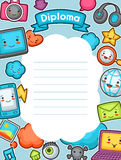 Kawaii gadgets social network diploma. Doodles with pretty facial expression. Illustration of phone, tablet, globe Stock Images