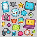 Kawaii gadgets social network items. Royalty Free Stock Image
