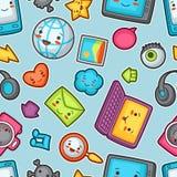 Kawaii gadgets social network seamless pattern. Stock Image