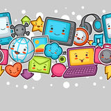 Kawaii gadgets social network seamless pattern. Doodles with pretty facial expression. Illustration of phone, tablet Stock Photography