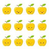 Kawaii gele appel Leuk emoticongezicht op een witte achtergrond Emoticonpictogram stock illustratie