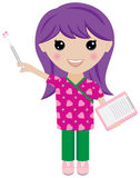 Kawaii Girl Nurse with Syringe and Clipboard. A cute kawaii style nurse or doctor. She holds a clipboard and a syringe that squirts hearts. She wears scrubs that Stock Photo