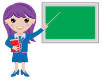 Kawaii Girl Teacher with Book, Pointer and Blackboard. A cute kawaii girl teacher who holds a book and pointer. She points at a blank blackboard where you can Stock Photography