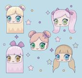 Kawaii girl icon. Kawaii girls icon over blue background, colorful design. vector illustration vector illustration