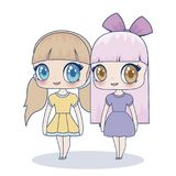 Kawaii girl icon. Kawaii girls icon over white background, colorful design. vector illustration royalty free illustration