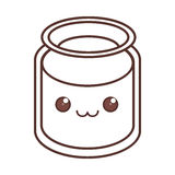 kawaii glass jar small template thin line vector illustration