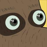 Kawaii grappige die snuit met roze wangen en het knipogen ogen op vierkante achtergrond wordt geplaatst Vector royalty-vrije illustratie