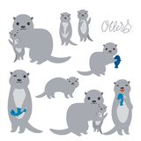 Kawaii grey otters family with children with fish on white background. Applicable for Banners, Placards, Posters, Flyers. Vector stock images