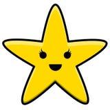 Kawaii gul stjärna Logo Illustration royaltyfri illustrationer
