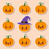Kawaii halloween pumpkins Stock Image