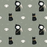 Kawaii Halloween seamless pattern with death and cat. Seamless repeat pattern with kawaii death, black cat on gray. Hand drawn vector illustration. Line drawing stock illustration