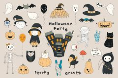 Kawaii Halloween set royalty free illustration