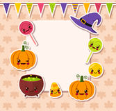 Kawaii Halloween symbols with frame Stock Photos