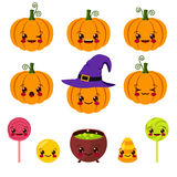 Kawaii Halloween symbols. Vector illustration of kawaii Halloween symbols Royalty Free Illustration