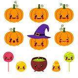 Kawaii Halloween symbols Stock Photo