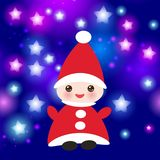 Kawaii Happy New Year card, Funny gnome in red hats on blue background with stars. Vector. Illustration royalty free illustration