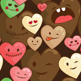 Kawaii hearts seamless  background Royalty Free Stock Image