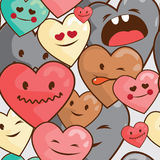Kawaii hearts seamless  pattern Royalty Free Stock Photography
