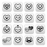 Kawaii hearts, Valentine's Day cute  buttons set Royalty Free Stock Photography