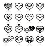 Kawaii hearts, Valentine's Day cute  icons set Royalty Free Stock Image
