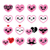 Kawaii hearts, Valentine's Day cute vector icons set. Japanese Kawaii characters isolated on white - love concept Royalty Free Stock Photography